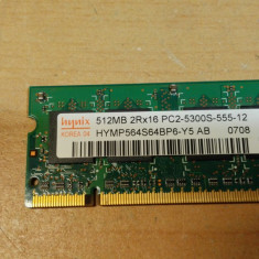 Ram Laptop hynix 512 MB DDR2 PC2-5300S HYMP564S64BP6-Y5 - Memorie RAM laptop Hynix, 667 mhz