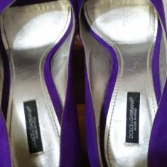 Pantofi peep-toe DOLCE&GABBANA originali, 38, 5 - Pantof dama D&G, Culoare: Mov, Cu toc