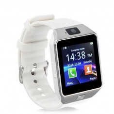 Ceas Smartwatch cu Telefon DZ09 White, Aluminiu, Argintiu, Tizen Wear, Apple Watch Series 2