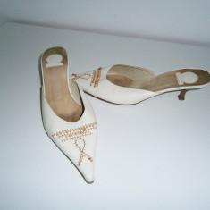 Saboti dama piele, albi, made in Italy, marimea 38 jumate! - Sabot dama, Culoare: Din imagine, Marime: 38.5
