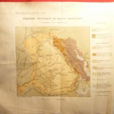 Harta tectonica a Bazinului Transilvanean 1927, L.Mrazec, E.Jekelius, 28x24 cm