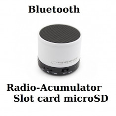 Mini boxa portabila bluetooth Rimto mp3 radio card microSD cu carcasa metalica