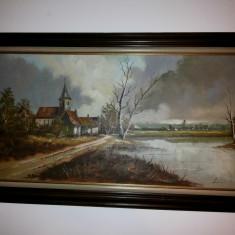 Pictura veche, in ulei,pe panza,peisaj,rama din lemn,dimensiuni mari