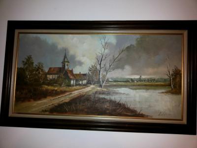 Pictura veche, in ulei,pe panza,peisaj,rama din lemn,dimensiuni mari foto