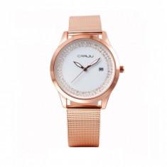 Ceas elegant dama Quartz cu afisaj data 2102-1, rose gold - Ceas dama, Fashion, Otel, Analog