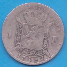 (1) MONEDA DIN ARGINT BELGIA - 1 FRANC 1869 - REGELE LEOPOLD II, Europa