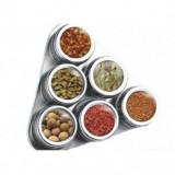 Set condimente inox 7 piese suport triunghi - Solnita