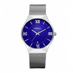 Ceas elegant dama Quartz cu afisaj data 2107-1, albastru - Ceas dama, Fashion, Otel, Analog