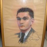 Tablou - Ioan Sima - Autoportret - 1941 - creion - Pictor roman, Portrete, Pastel, Altul