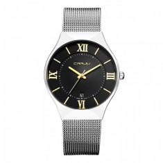 Ceas elegant dama Quartz cu afisaj data 2107-2, negru - Ceas dama, Fashion, Otel, Analog