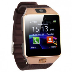 Ceas Smartwatch cu Telefon DZ09 Gold, Aluminiu, Argintiu, Tizen Wear, Apple Watch Series 2