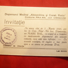 Invitatie la Bal al Dispensarului Medical Comuna Raul Alb jud.Dambovita 1946 - Cartonas de colectie