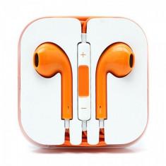 Casti in-ear cu microfon universale, iphone si samsung, portocaliu portocaliu Compatibil