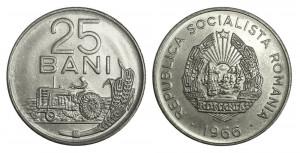 ROMANIA 25 BANI 1966 UNC DIN FISIC