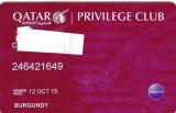Card plastic membru Qatar Airways Privilage Club