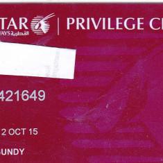Card plastic membru Qatar Airways Privilage Club - lot colectie