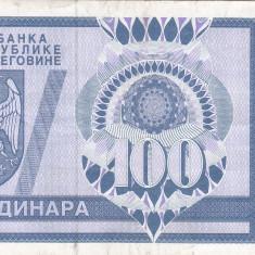 BOSNIA-HERTEGOVINA 100 dinara 1992 BANJA LUKA VF+++!!!