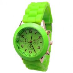 Ceas dama Geneva curea verde deschis silicon + cutie cadou, Fashion, Mecanic-Manual, Otel, Analog