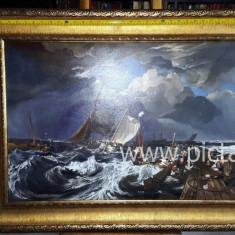 Tablou pictat in ulei pe panza Originala Pictura cu peisaj marin Tablou cu rama. - Pictor roman, Marine, Realism