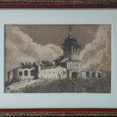 ANTON KAINDL -GRAVURA /IN CURTEA MANASTIRII - Pictor roman, Peisaje, Carbune, Altul