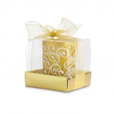 Lumanare decorativa in suport de sticla auriu - Figurina/statueta