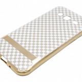 Husa silicon aurie (patrate alb + bej) pentru Samsung Galaxy J3 (SM-J320F) (2016) - Husa Tableta