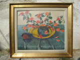 Trandafiri japonezi, tablou de pictor clujean, pictura veche Fulop Antal Andor