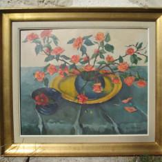 Trandafiri japonezi, tablou de pictor clujean, pictura veche Fulop Antal Andor, Flori, Ulei, Altul