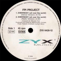 FPI Project - Everybody 1994 disc vinil Maxi Single House - Muzica House