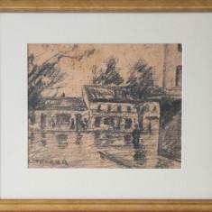 IOSIF STEURER -VREME PLOIOASA - Pictor roman, Peisaje, Carbune, Altul