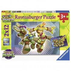 Puzzle Testoasele Ninja in actiune, 2x12 piese Ravensburger