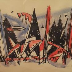 "Marcel Iancu - ""Muntele Negev"" - Litografie"