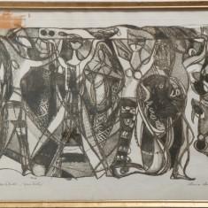CARIATIDE (AQUATINTA, EXEMPLAR DE ARTIST)-ELVIRA MICOS - Pictor roman, Portrete, Carbune, Altul