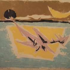 """Marcel Iancu - """"L'oiseau bleu"""" - Litografie"""