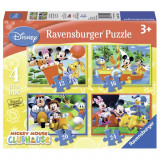 Puzzle Clubul lui Mickey Mouse, 4 bucati in cutie 12/16/24 piese Ravensburger