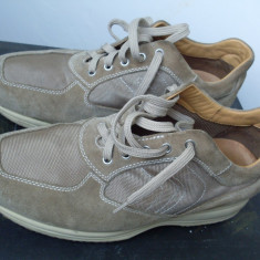 Pantofi sport Geox Respira/ piele naturala/ marime 46 - Adidasi barbati Geox, Culoare: Bej