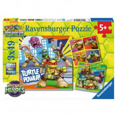 Puzzle Testoasele Ninja, 3x49 piese Ravensburger