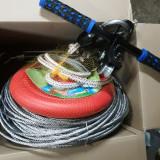 tiroliana completa cu leagan copii 30m-100m cablu otel 6-8 mm cu manere sau fara