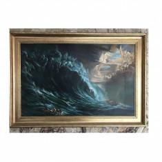 Tablou pictat in ulei pe panza Tablou dimensiune mare Pictura cu rama decorativa - Pictor roman, Abstract