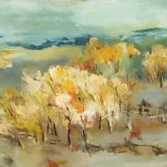 R Postolache Peisaj de vara tarzie tablou pictat in ulei pe panza 40x50cm - Pictor roman, Peisaje, Realism