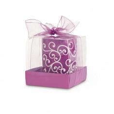 Lumanare decorativa in suport de sticla violet - Figurina/statueta