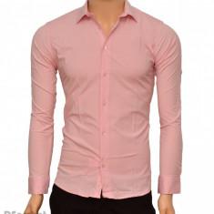 Camasa Slim Fit barbati roz cu picatele negre - Camasa barbati cambrata bumbac, Marime: S, M, L, XL, XXL, Culoare: Alb, Albastru, Negru, Maneca lunga