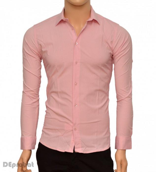 Camasa Slim Fit barbati roz cu picatele negre - Camasa barbati cambrata bumbac