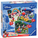 Puzzle Clubul lui Mickey Mouse, 3 bucati in cutie 25/36/49 piese Ravensburger