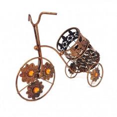 Suport vin metalic bicicleta cu design floral