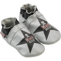 Botosei gri din piele pentru bebelusi, Rock Oxxy Star - Botosi copii
