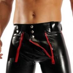 LLL Chiloti Boxeri Pantaloni Underwear Barbati Piele PU Metalic Sexy Jockstrap - Chiloti barbati, Marime: M/L, Culoare: Negru