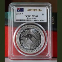 Australia / 2017-P / Kangaroo 1$ / 0, 999 silver 1 Oz. / PCGS MS69, Australia si Oceania, Argint