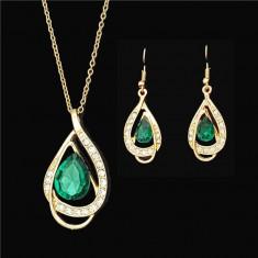 Set Aur- Verde - Filigran 18k - Safire Austria Cristal - Femei/Elegant/Safire - Set bijuterii placate cu aur