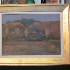 """PVM - Tablou expozitie """"Peisaj de Toamna"""" u / p semnat Pencea '94 / un defect"""